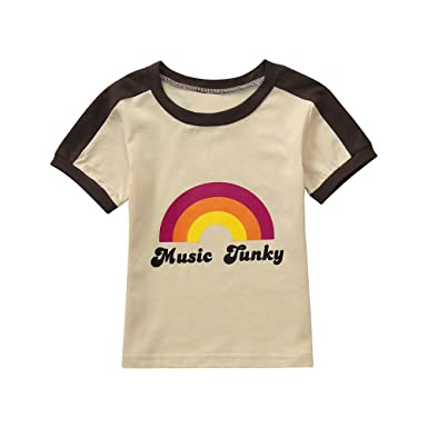 06d9ccee4 Baby Shirt for 1-5 Years Old,Fashion Toddler Boys Girls Kids Letter Rainbow