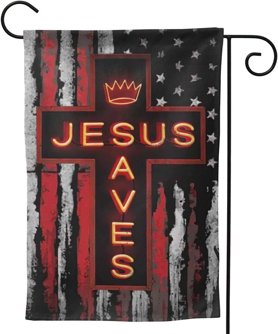 Jesus Christ Lord Cross American Cool Small Garden Flag Vertical Double Sided 12.5 X 18 28 X 40 Inch Floral Farmhouse Yard Outdoor Deco
