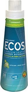 Earth Friendly Products 980106 ECOS 4X Concentrate Lemongrass Liquid Laundry Detergent, 25 oz Bottle (Case of 6)