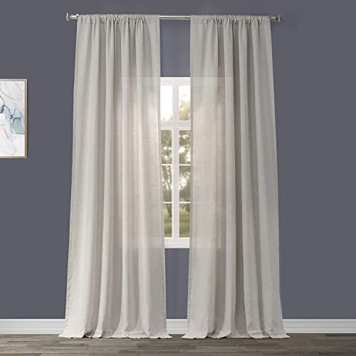 HPD Half Price Drapes SHLNCH-GB1001033-108 Signature French Linen Sheer Curtain 1 Panel , 50 X 108, Birch