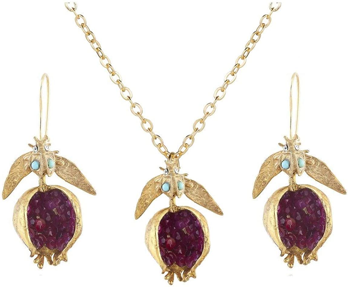 Pomegranate earrings persephone jewelry cute dangle beads judaica gifts from mom to daughter miniature gold fruit Hanukkah gifts