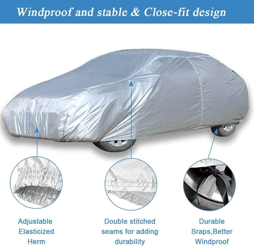 ECCPP Universal Fit 100/% Breathable Waterproof Frost Resistant Cover All Weather Protection Auto Car Cover with Polyester for All Cars 170 Inch Long Silver Grey 1 Year Warranty