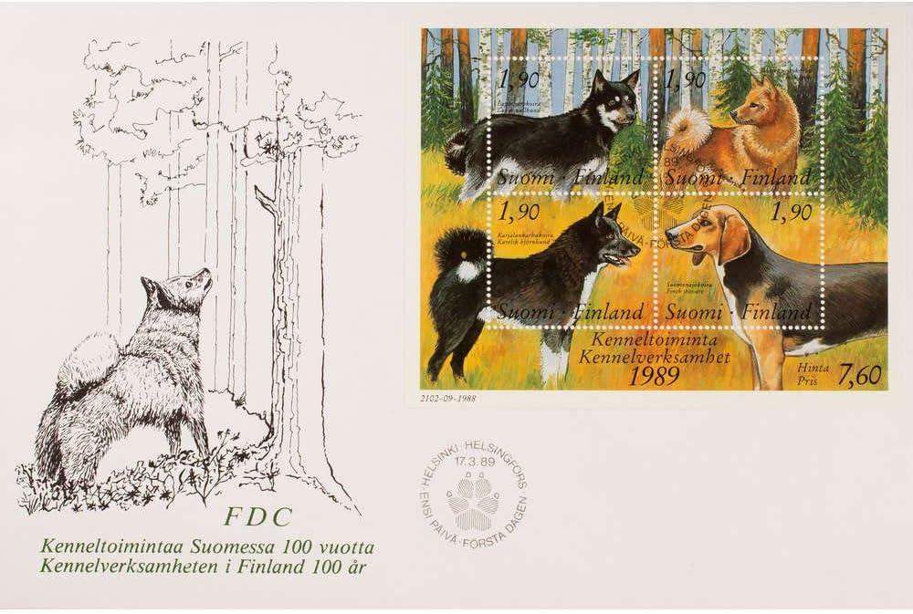Goldhahn Finnland Block 5 FDC Ersttagsbrief Hunde Briefmarken f/ür Sammler
