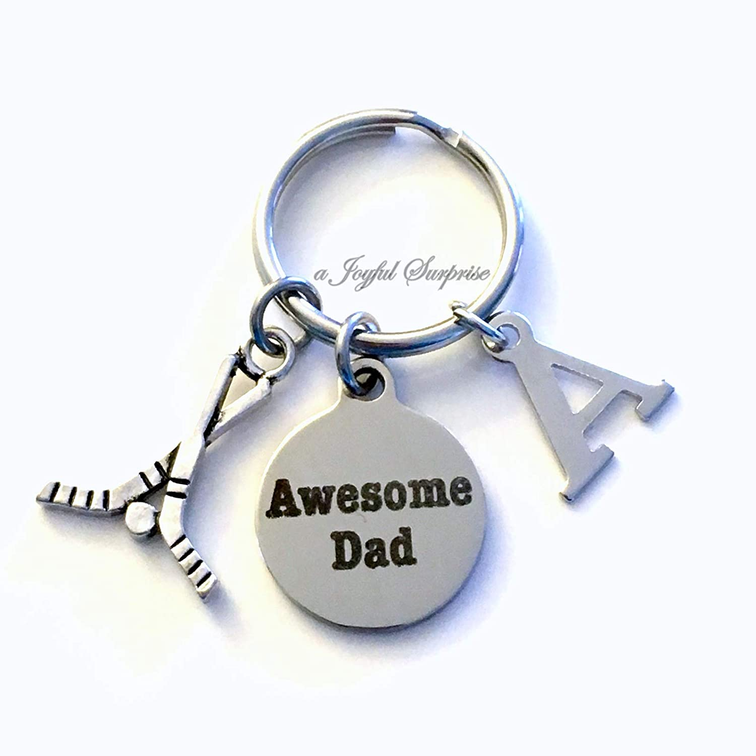 Hockey Dad Gifts Makes for Fathers Sportybella Hockey Dad Stainless Steel Bottle Opener Keychain Dad Keychain from Kids