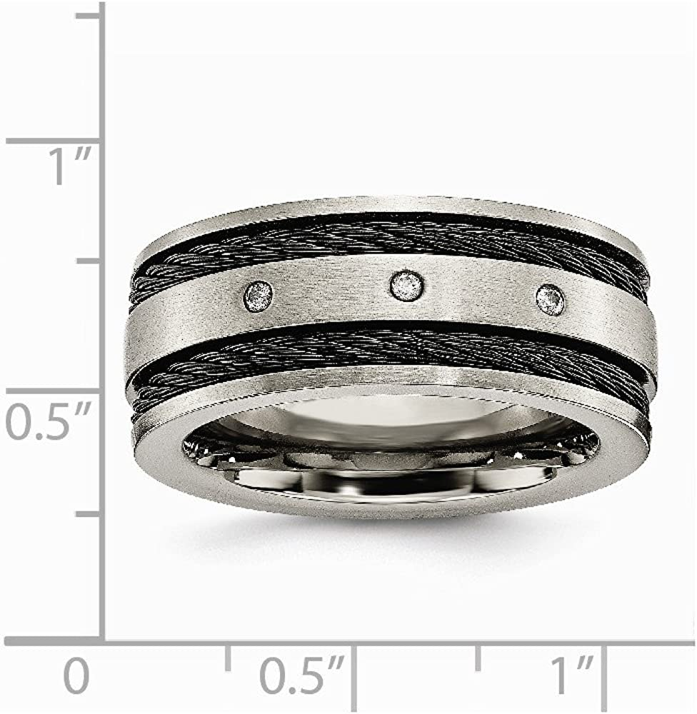 Titanium Black IP-Plated Cable and Diamonds 10mm Brushed Band