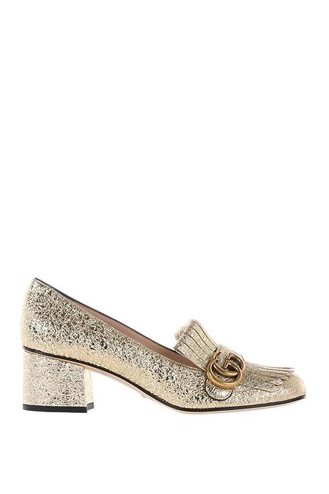 super popolare f19f8 b3496 Gucci Scarpe Con Tacco Donna 408208Dkt007100 Pelle Oro ...