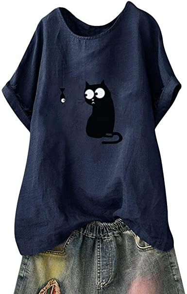 Plus Size Womens Short Sleeve Cat Print Long Tops Summer Beach Shirt Dresses