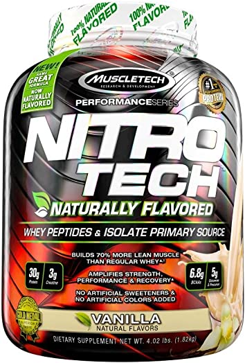 MuscleTech NitroTech Protein Powder Plus Muscle Builder, Naturally Flavored, 100 Whey Protein with Whey Isolate, Vanilla, 40 Servings 4lbs