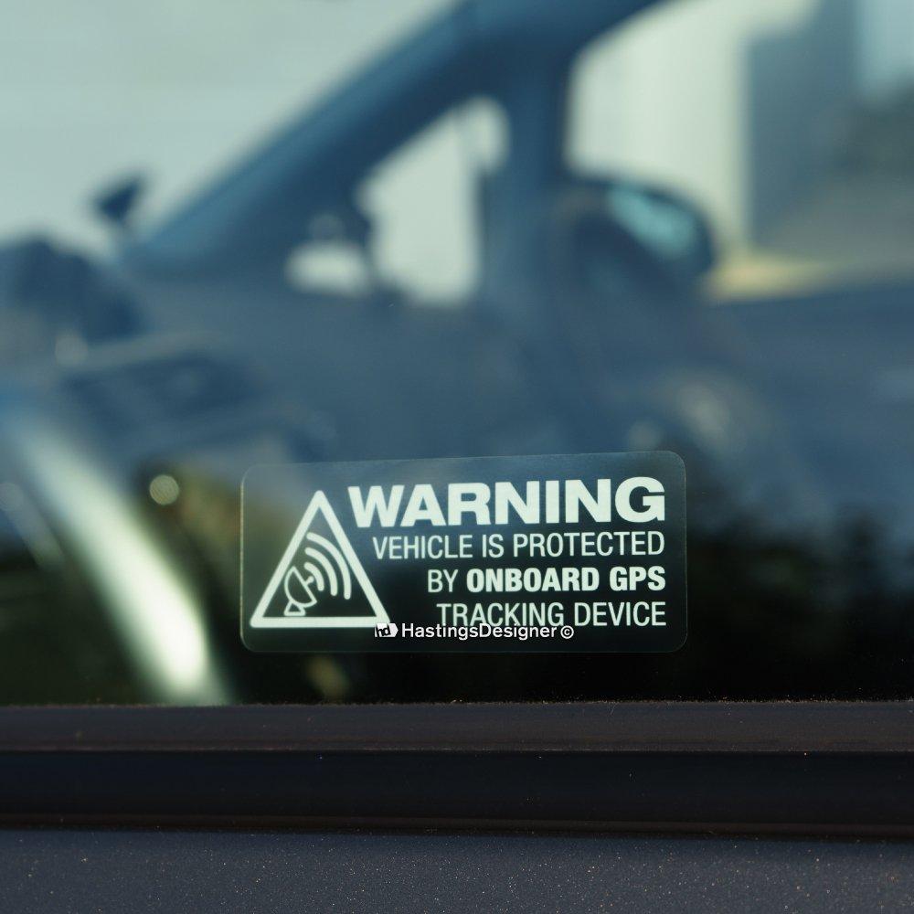Pegatinas de advertencia de vehículo con localizador GPS para ventanas. Con leyenda en inglés. Ideal para coches, autocaravanas o motocicletas.