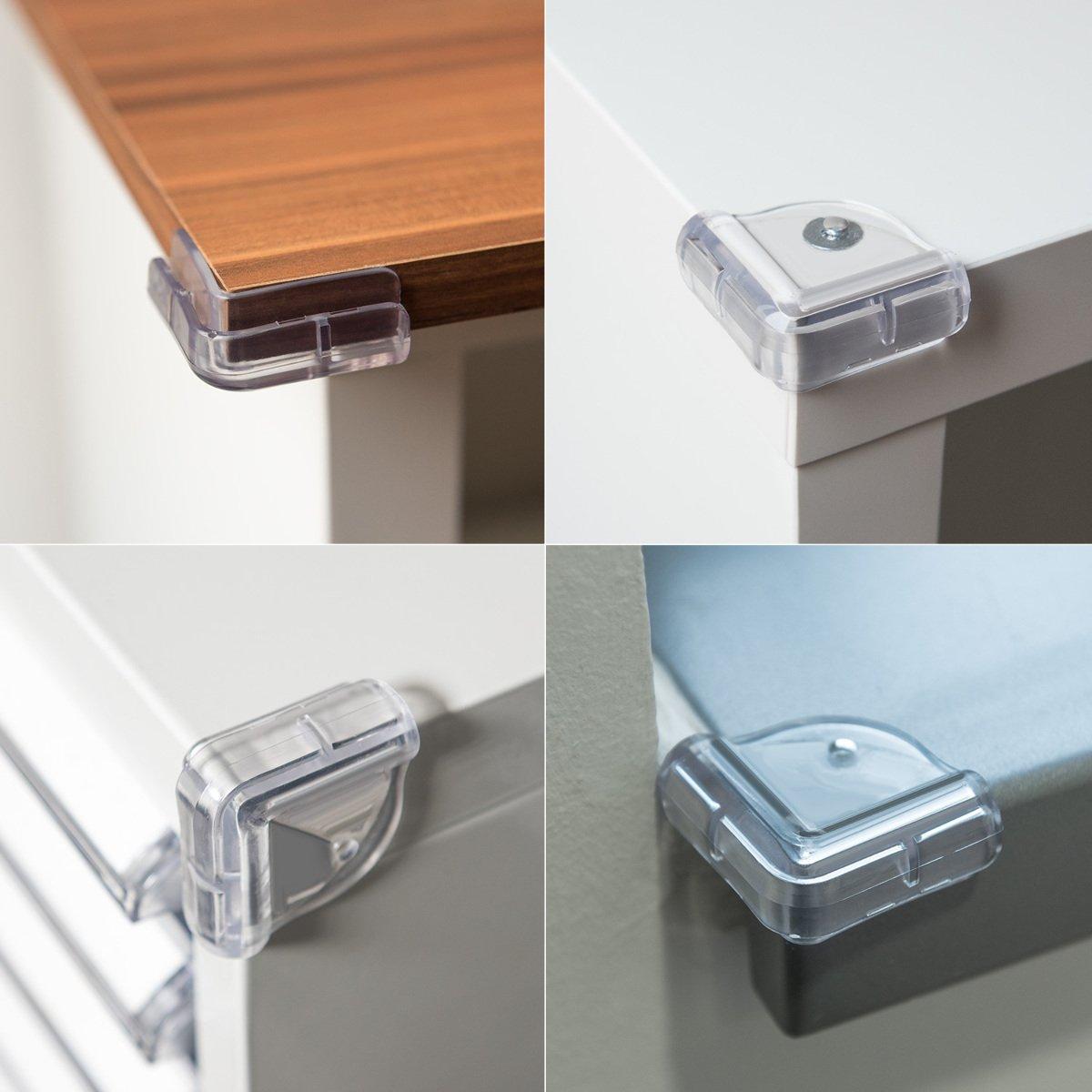 Navaris 20x Protection coin de table Protection coins tables en verre Prot/ège angles meubles en silicone transparent carr/é pour enfant et b/éb/é
