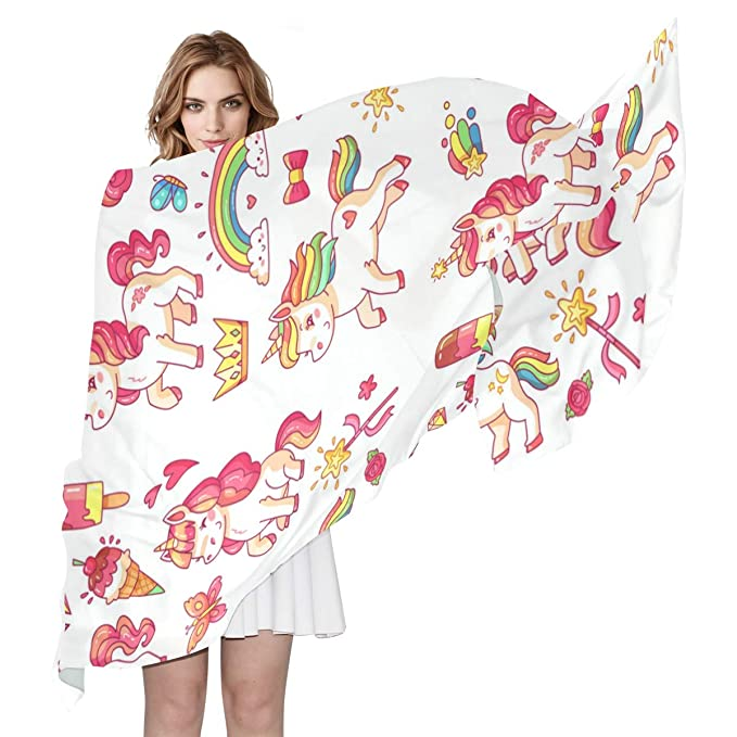 9187ff9d1b9b3 Image Unavailable. Image not available for. Color  Women s Polyester  Fashion Scarf Flying Baby Rainbow Unicorn ...