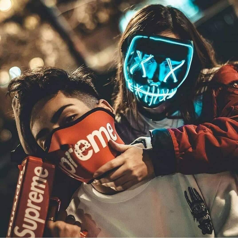 Grimace Cosplay Festival Party Show Weihnachten LED Maske Purge EL Wire mit 3 Blitzmodi f/ür Party Halloween Kost/üm Stil 1 Halloween Maske LED