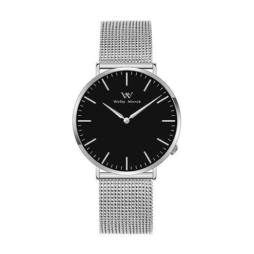 Welly Merck Reloj Analógico para Mujer Cuarzo Suizo Pulsera con Acero Plata W-C3MI: Amazon.es: Relojes