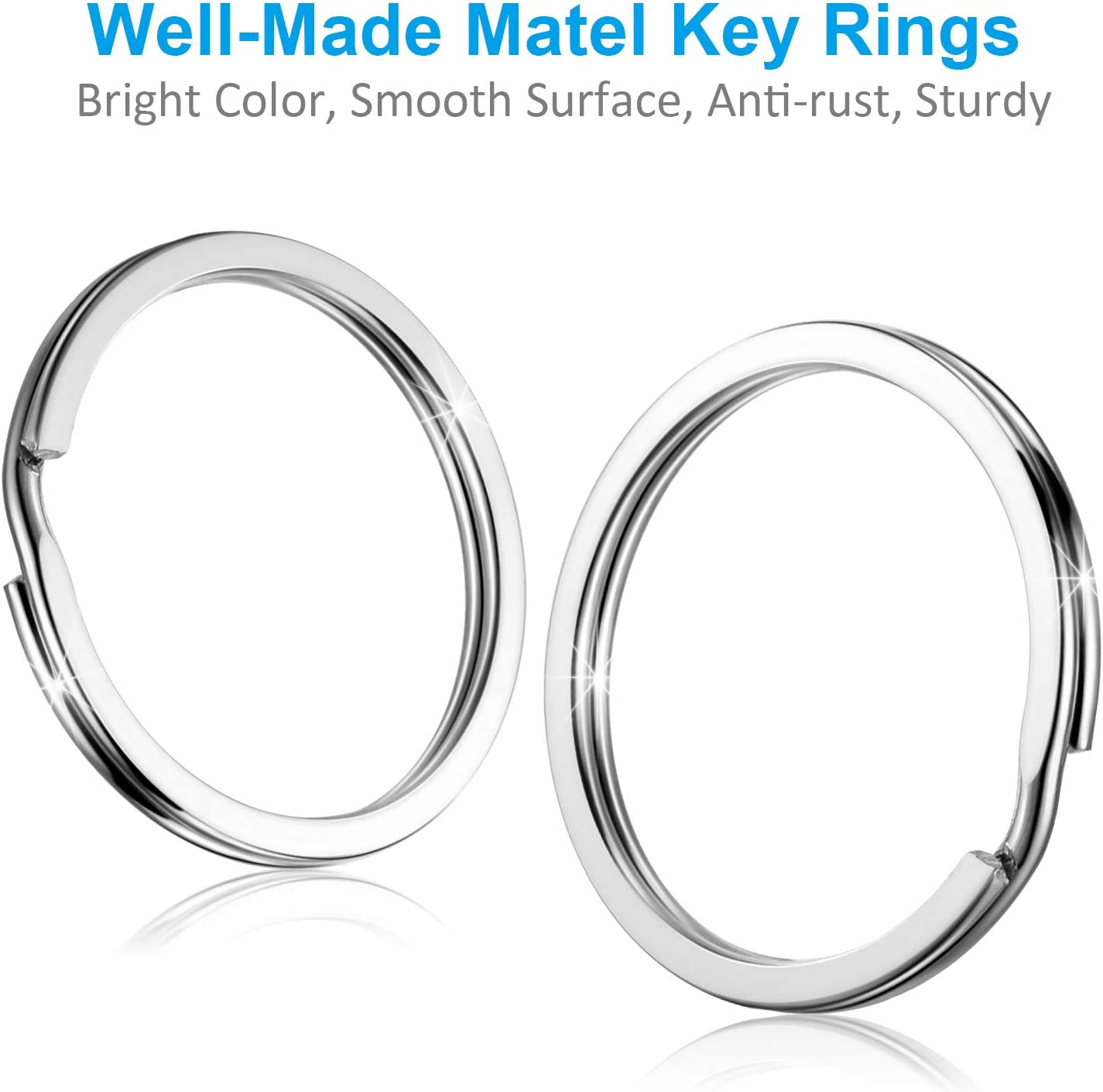 for Dog Pet Collar DIY Tag Jewelry Car Key Small 1//2 inch, 3//4 inch,1 inch, 1.25 inch YHYZ Split Key Ring Circle Assorted Metal Round Keyring Durable in 4 Sizes Sliver Size 1, 20pcs