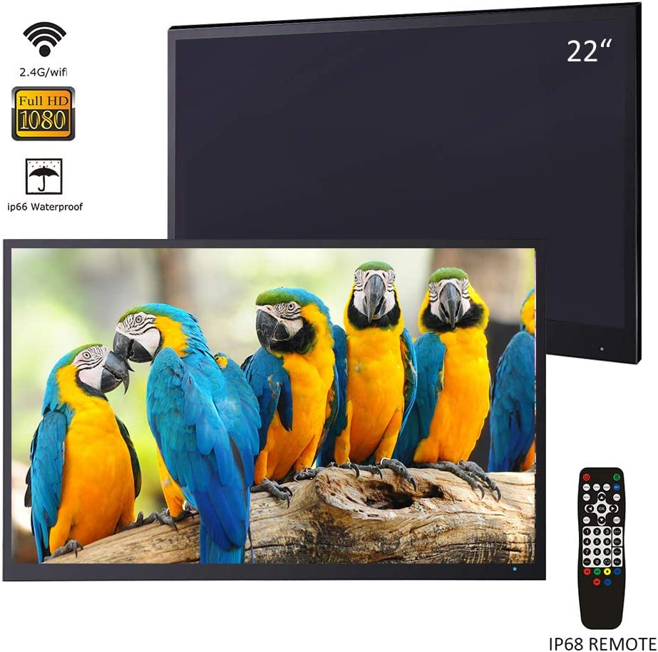 Soulaca 22 inches Black Smart Bathroom LED TV Waterproof SPA 1080P Android 7.1 ATSC/DVB