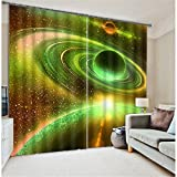 Cheap LB 2 Panels Room Darkening Blackout Curtains,Outer Space 3D Window Drapes For Living Room Bedroom,42 x 84 Inches