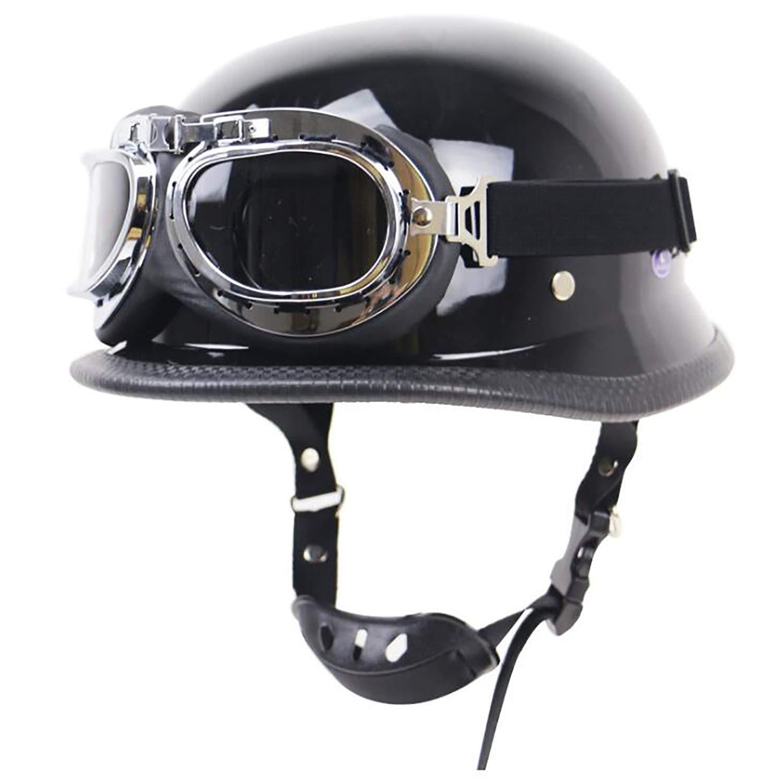 QHZ Erwachsene Harley Retro Helm Motorrad M/ütze Jethelm Halbhelm DOT-zertifizierte Schutzbrille Milit/ärstahl Halbschalenhelm Knight Chopper Fahrradroller Halbhelm,1,S