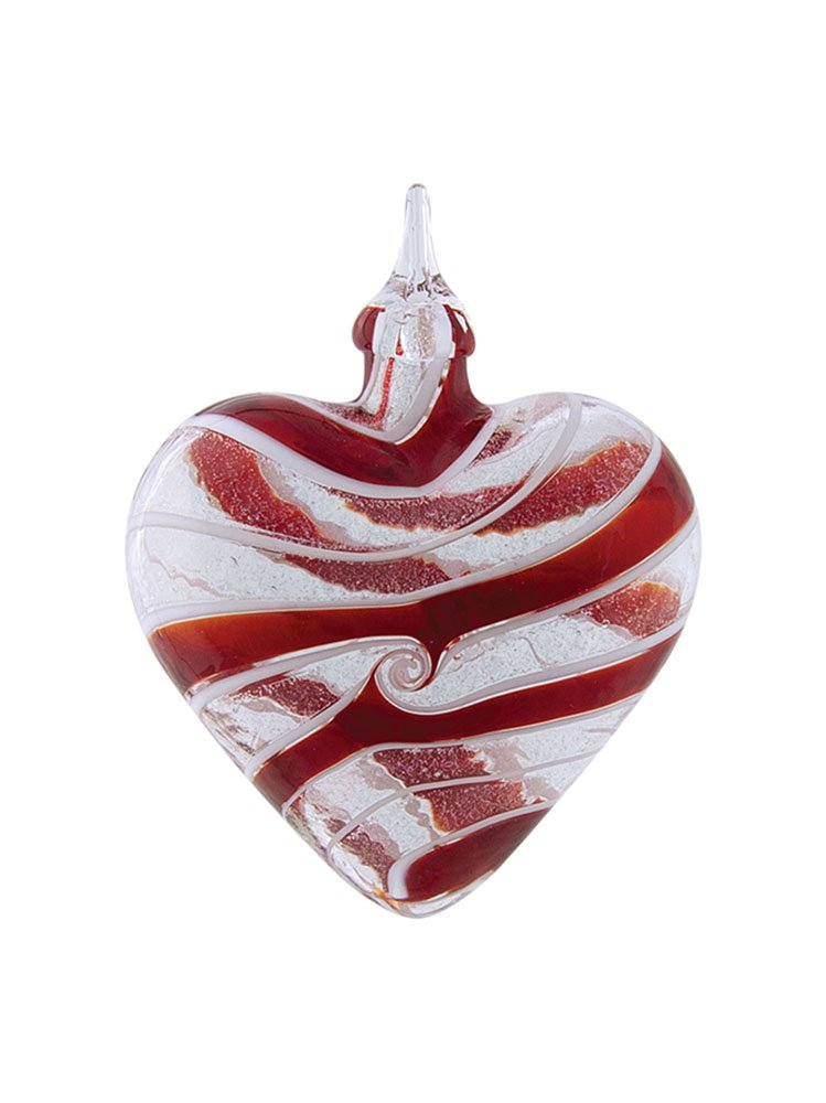 Red Swirl Sparkle Heart Hand Blown Iridescent Glass Christmas Tree Ornament
