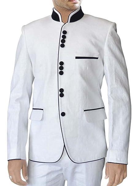 INMONARCH Impresionante traje blanco de lino LS47: Amazon.es ...