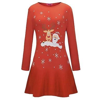 da2be9a0005 Longra Noël Vetement Robe de Soirée Robe de Noël Femmes Fille Imprimé  Manche Longue Mini Robe Tenue de Noel Robe de Cocktail Robe de soirée Robe  de ...