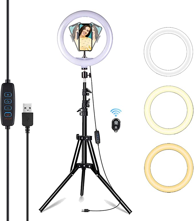 25 4 Cm Ringlicht Selfie Ringlicht Mit Stativständer Und Handyhalterung Für Youtube Video Live Streaming Zoom Meeting Kompatibel Mit Iphone Android Elektronik