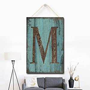 Puernash Wooden Hanging Sign Letter M Wood Sign 8 X 12 Inches