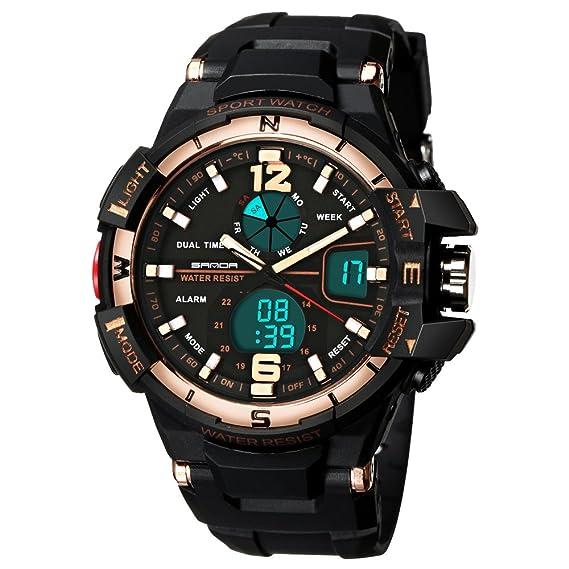 amstt Hombre analógico digital Deporte Reloj de pulsera calendario alarma cronómetro exterior resistente al agua reloj