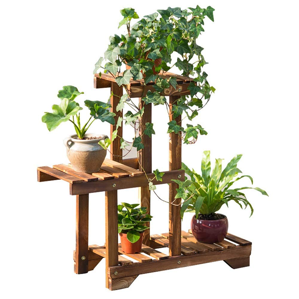 Carbon roast One Size Plant stand Solid Wood Balcony Flower Stand 3-layer Succulents Plant Display Racks Multi-Layer Plant Stand Flower Display Flowerpot Storage Rack For Indoor Outdoor Garden Flower pot flower display sta
