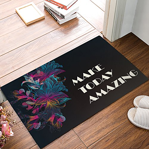 """Non Slip Resilient Shower Mat Absorbent Entry Way Rug for Bathroom Kitchen Toilet Floor, Black Background with Artistic Flower Inspiring Quote Comfortable Home Deco,18"""" x 30"""""""