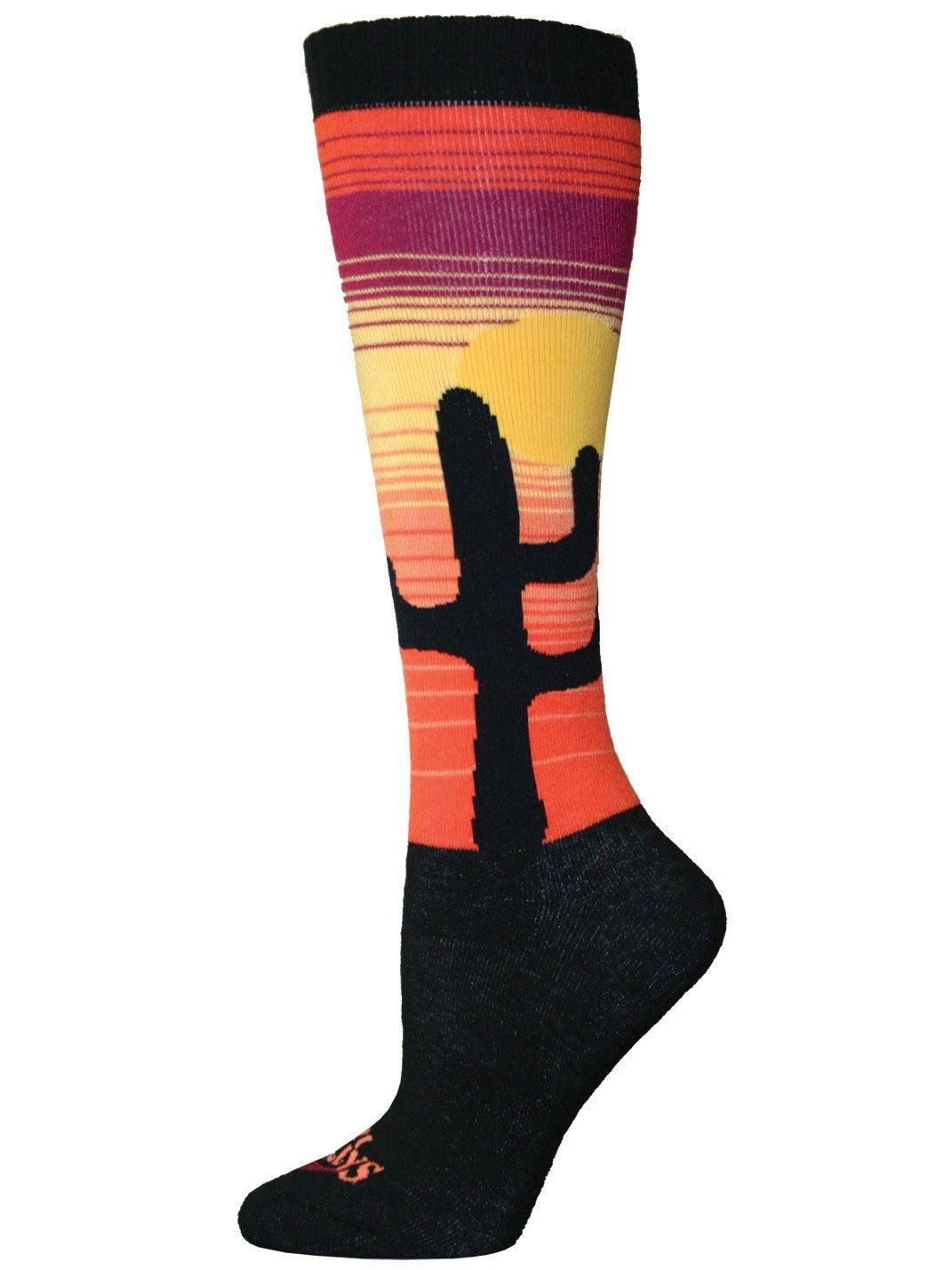Hot Chillys Women's Cactus Mid Volume Socks, Medium, Cactus/Black HC2402P