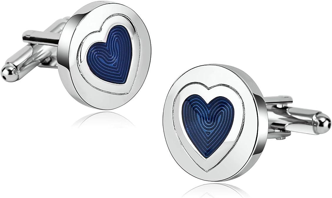 AnazoZ Gemelos de Camisa Gemelos Camisa Acero Inoxidable Corazón Redondo Gemelos de Camisa Plata Azul Gemelo de Camisa: Amazon.es: Joyería