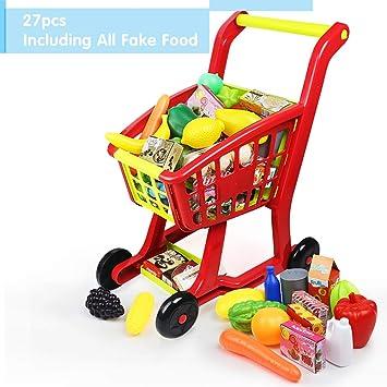 Nuheby Carrito de Compra Infantil Supermercado de Juguetes con Frutas Vegetales y Alimentos Falsos Juguete de Cocina en Miniatura 3 Años Juguete ...