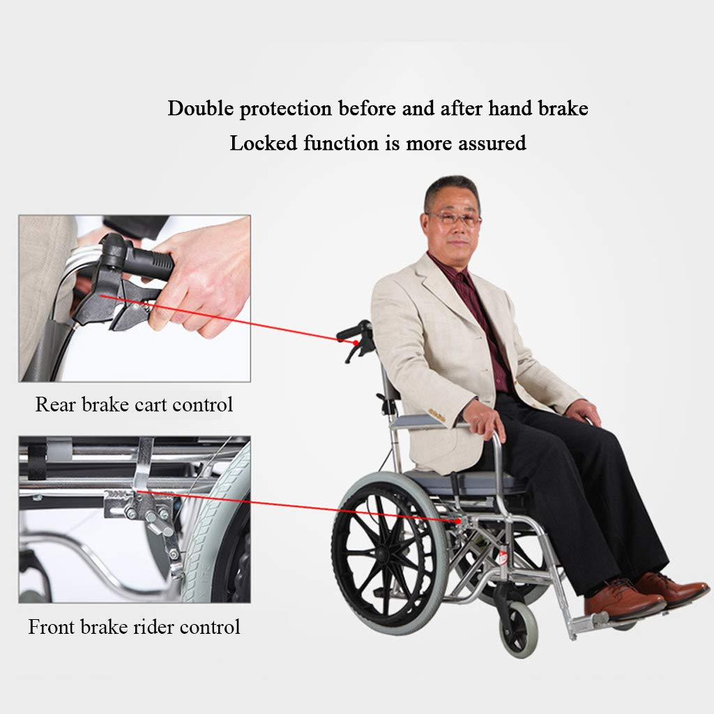 Handicapped Wheeled Commode//Over Toilet Chair Shower and Commode Chair Padded Shower Seat with Wheels and Built in Toilet for Elderly and Disabled Users