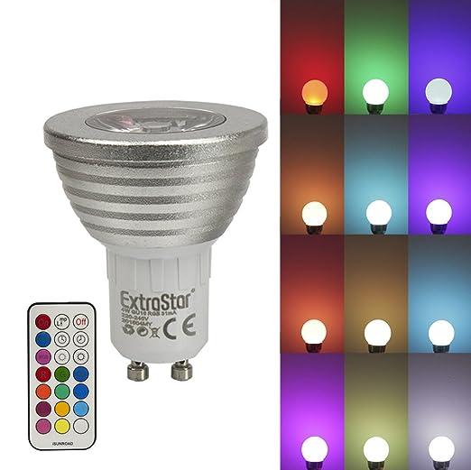 1 x LED RGB lámpara extra Star GU10 16 colores 4 W Cambio de color luz