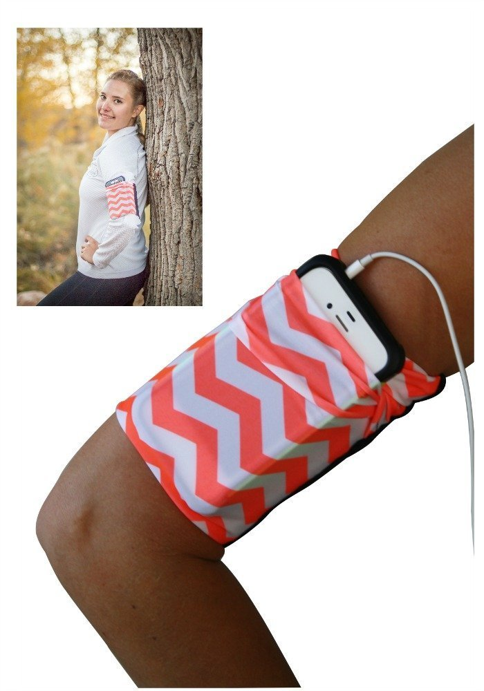 Orange Chevron Cell Phone Armband
