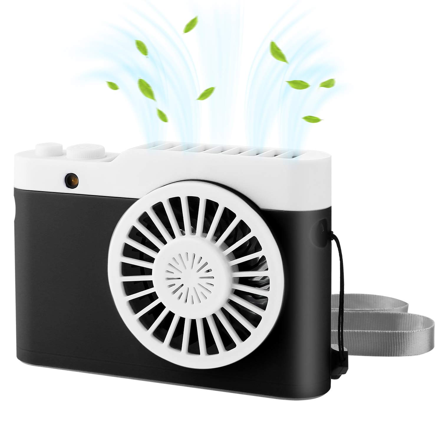 Yoloho Portable Necklace Fan, Mini Handheld Fan USB Rechargeable Battery Operated Fan, Hands Free Face Fan with 3 Adjustable Speeds, 9 Hours Working Time Personal Fan for Home Office Outdoors Travel