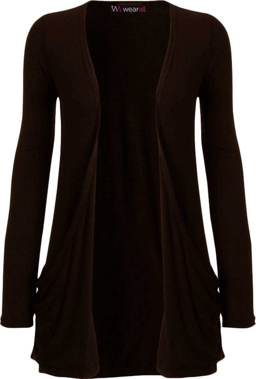 WearAll - Ladies Long Sleeve Pocket Cardigan Womens Top Sizes 8-22 sc