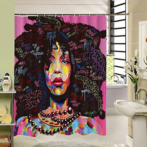 African American Shower Cutain Woman Abstract Print Waterproof Mildew Resistant Fabric Polyester Bath Curtain for Hip Pop Art Bathroom Decor