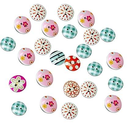 100 Piezas 2 Agujeros Botones Colorear Snaps Madera DIY Regalo Decoración Creativo Botones de