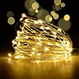 YoTelim LED Fairy String Lights with Remote Control - 2 Set 100 LED 33ft/10m Micro Silver Wire Indoor Battery Operated LED St