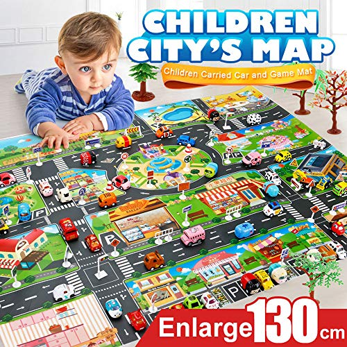 NszzJixo9 Kids Play Mat City Road Buildings Parking Map Game Scene Educational Toys for Baby Boys Girls- Cultivate Coordination(About 130x100cm/51.1x39.3in)