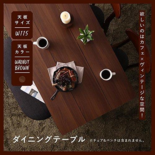 カフェ ヴィンテージ ダイニング Mumford マムフォード ダイニングテーブル ブラウン W115 テーブルカラー ブラウン soz1-500029673-125384-ah [簡素パッケージ品] B07B8CYK4Q