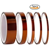 Teenitor High Temp Tape, 5 Pack Polyimide High-Temperature Resistant Tape Multi-Sized Value Bundle 1/8'', 1/5'', 1/4'', 1/2'', 1'' with Silicone Adhesive for Masking, Soldering