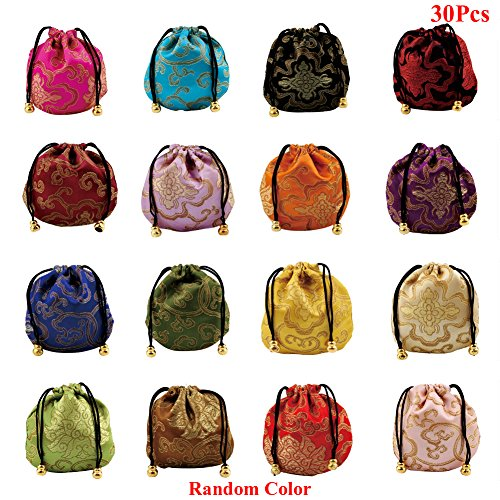 Lzttyee 30Pcs Silk Brocade Embroidered Drawstring Jewelry Pouch Bag Gift Bags Baskets Drawstring Coin Purse (Random Color)