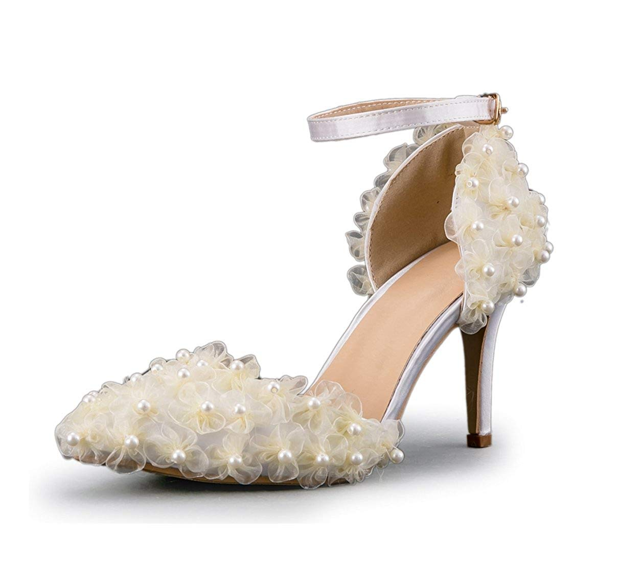 Qiusa Frauen Gaze Elegante Blaumen Elegante Gaze Knöchelriemen Elfenbein Braut Hochzeit Schuhe UK 3 (Farbe   - Größe   -) efef24