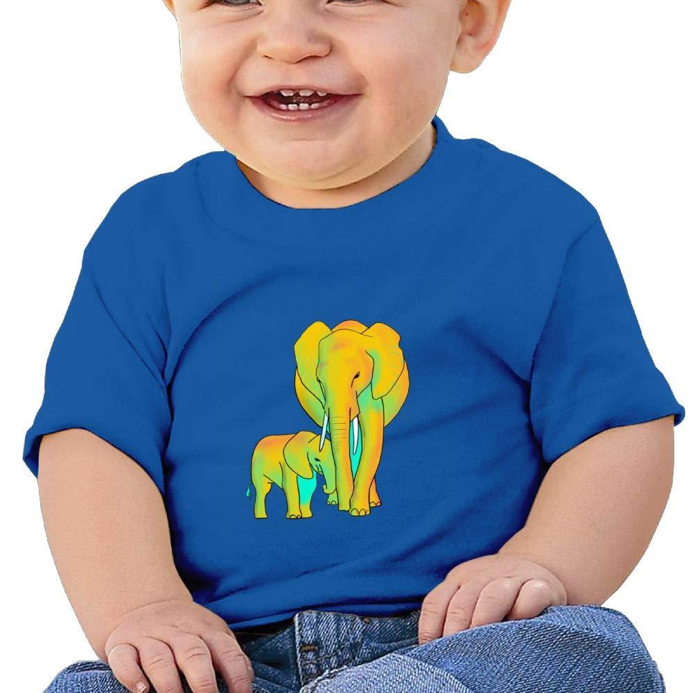 Arsmt Baby Girls Infant Yellow Elephants Cute Short Sleeve Shirt