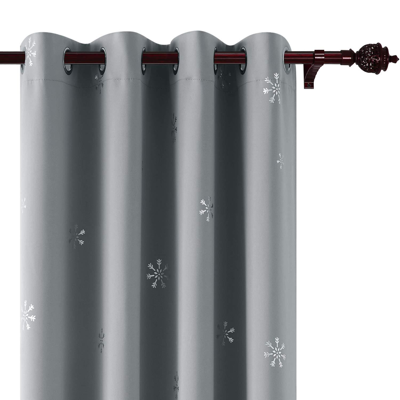 Deconovo Tende Oscuranti per la Stanza dei Bambini Termoisolanti Stampa a Fiocco di Neve Argento con Occhielli 140x180cm Beige 2 Pannelli