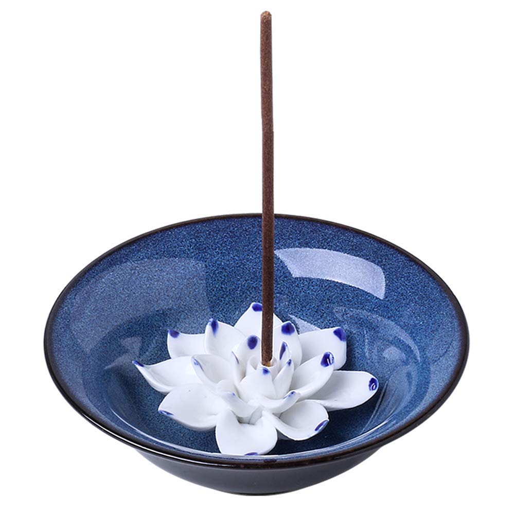 Uniidea Incense Holder for Sticks, Ceramic Handicraft Incense Burner Bowl, Coil Lotus Ash Catcher Tray 4.62 Inch Dark Blue by Uniidea