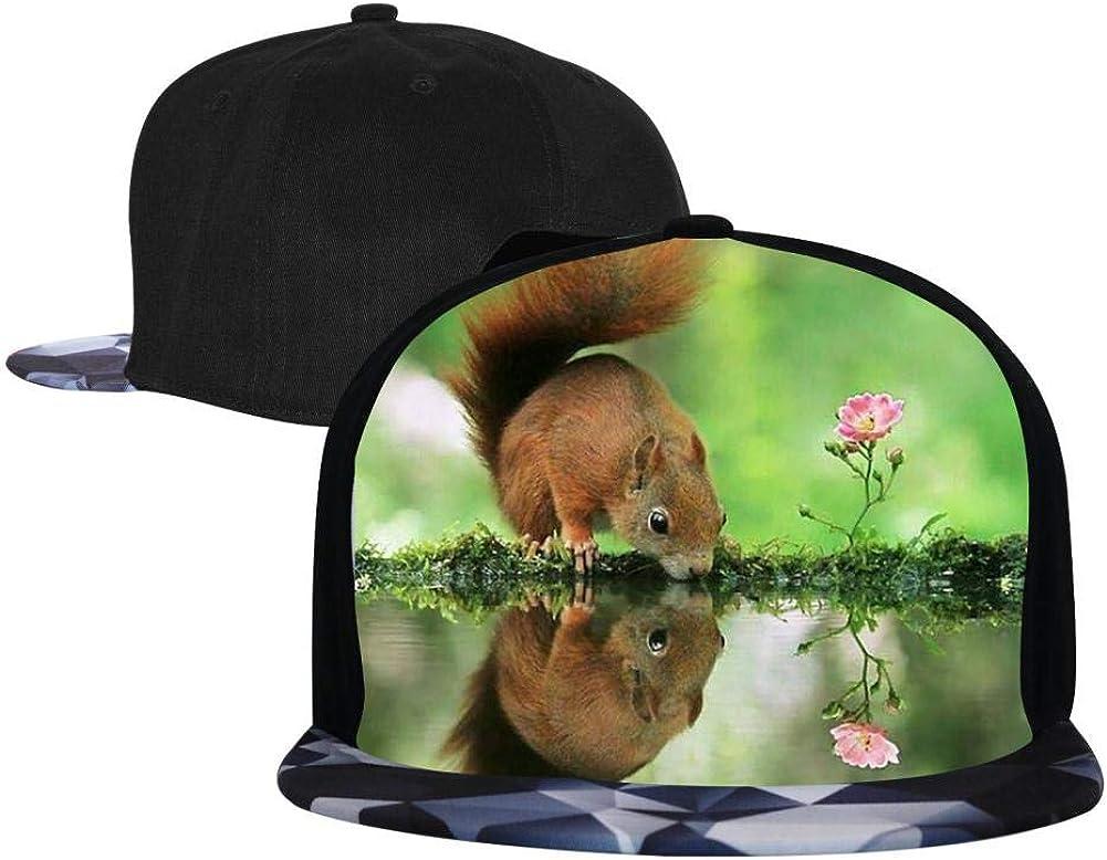 PASPTTO Cute Animal Squirrel Hip Hop Hat Mens Fashion Full Frame 3D Print Adjustable Truck Driver Baseball Cap