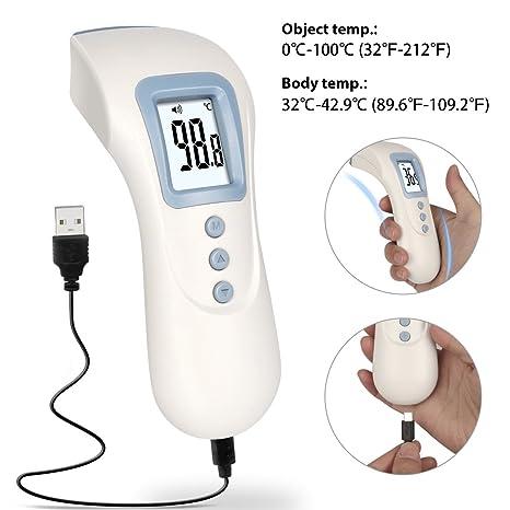 TTMOW Termómetro Digital de Frente Carga de USB, Sin Contacto para Bebés/Adultos,